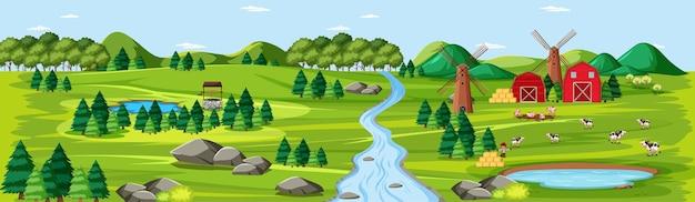 Naturaleza de la granja con escena de paisaje de graneros.