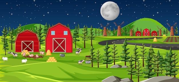 Naturaleza de la granja con paisaje de graneros en la escena nocturna.