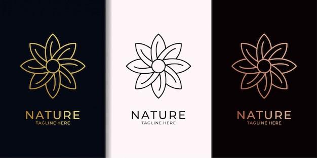 Naturaleza hoja elegante diseño de logotipo dorado