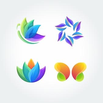 Naturaleza hoja mariposa conjunto aplicación icono logo vector