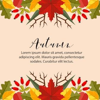 La naturaleza horizontal del borde de la tarjeta del otoño deja el fondo plano del estilo