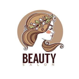 Naturaleza de la imagen de bosquejo de belleza de cara de niña para su emblema de etiqueta de logotipo
