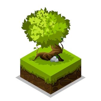 Naturaleza isométrica tierra, hierba y árboles.