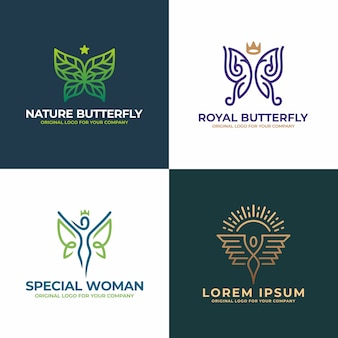 Naturaleza mariposa, mujer, cara, salón, colección de diseño de logotipo de belleza.