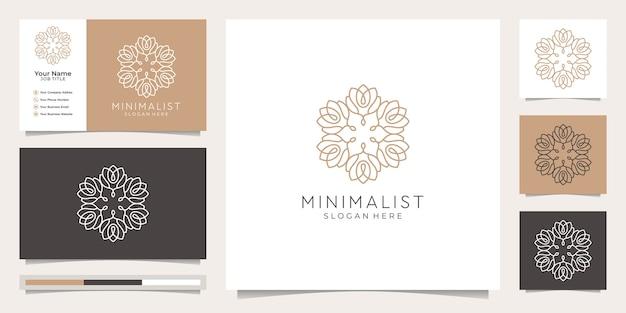 Naturaleza minimalista plantilla de monograma floral simple y elegante, diseño de logotipo de arte de línea elegante, ilustración de vector de tarjeta de visita.