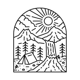 Naturaleza montaña camping senderismo línea ilustración