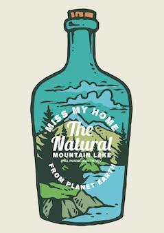 Naturaleza y montañas dentro de botella.