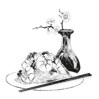 Naturaleza muerta. dibujado a mano ilustración