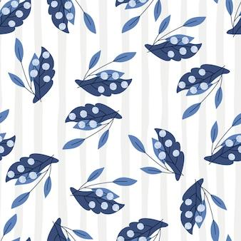 Naturaleza orgánica de patrones sin fisuras con estampado de bayas de serbal azul marino