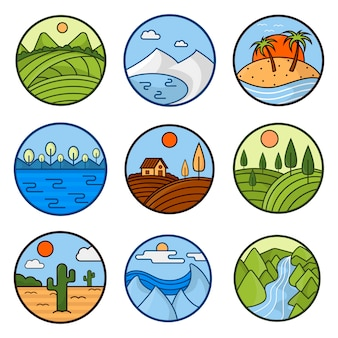 Naturaleza paisaje iconos vectoriales de montañas, océano y bosque
