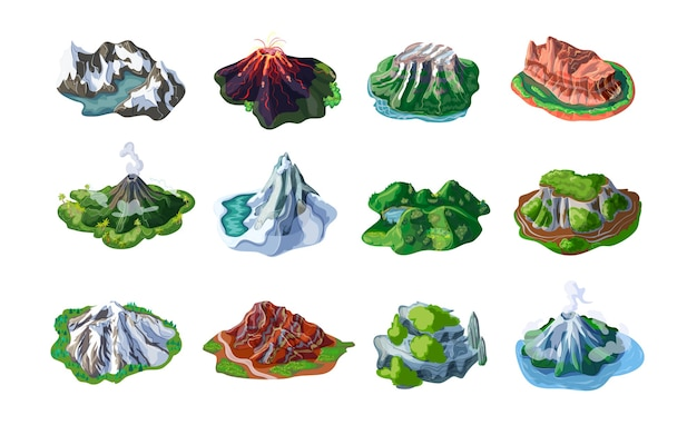 Naturaleza paisajes montañosos con montes volcanes colinas acantilados rocas picos de diferentes relieves aislados