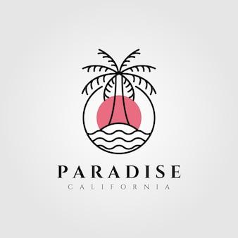 Naturaleza palmera logo coco línea arte minimalista emblema ilustración