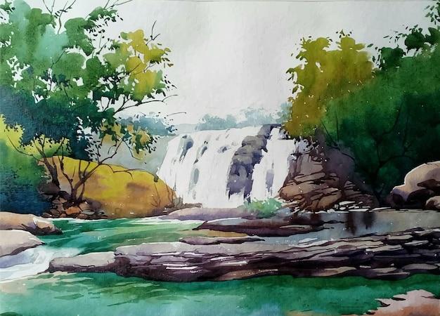Naturaleza de la pintura de acuarela y cascada dibujada a mano en la ilustración del paisaje de las montañas;