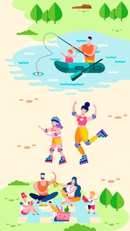 Naturaleza recreación tarjeta motivacional historias sociales