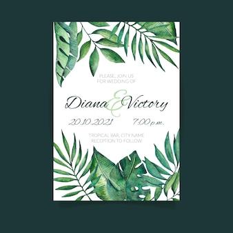 Naturaleza tropical con hojas exóticas invitación de boda