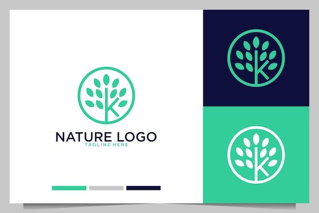 Naturaleza verde con diseño de logotipo letra k