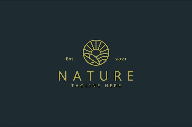 Nature farm field logotipo simple de la marca.