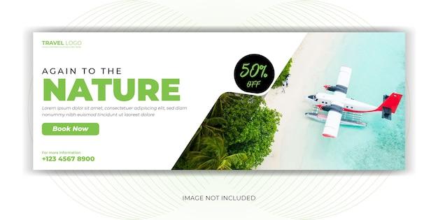 Nature travel tour página de portada de redes sociales publicación de redes sociales diseño de plantilla de banner de pie de página web