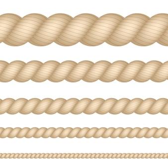 Náutica, marina, naval, conjunto de cuerda de espesor de hilo aislado. ilustración.