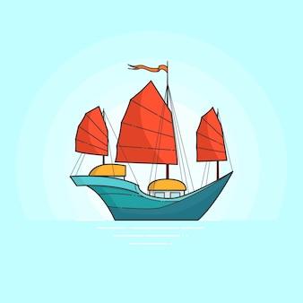 Nave del color con las velas rojas en el mar aislado en el fondo blanco. pancarta itinerante con velero. línea plana de arte. ilustracion vectorial concepto de viaje, turismo, agencia de viajes, hoteles, tarjeta vacacional.