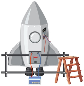 Nave espacial aislada sobre fondo blanco