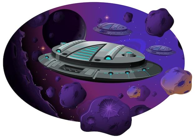 Nave espacial con asteroides en escena de galaxias.