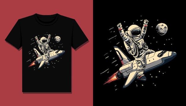 Nave espacial astronauta para diseño de camiseta.