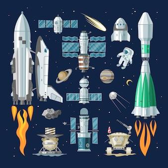 Nave espacial cohete o nave espacial y satélite o ilustración de rover lunar conjunto espacioso de nave espaciada en el espacio del universo con planetas en el fondo