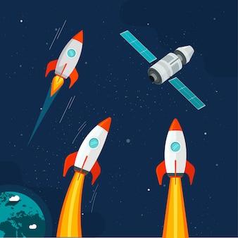Nave espacial cohete y vehículo satelital cósmico en cómic de dibujos animados del espacio exterior