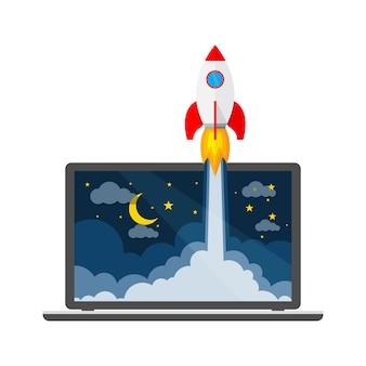 La nave espacial y la computadora portátil: concepto de creación de empresas. ilustración.