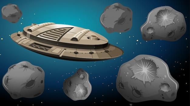 Nave espacial en la escena de los asteroides