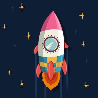 Nave espacial en el espacio. ilustración de dibujos animados de vector de lanzamiento de nave espacial.