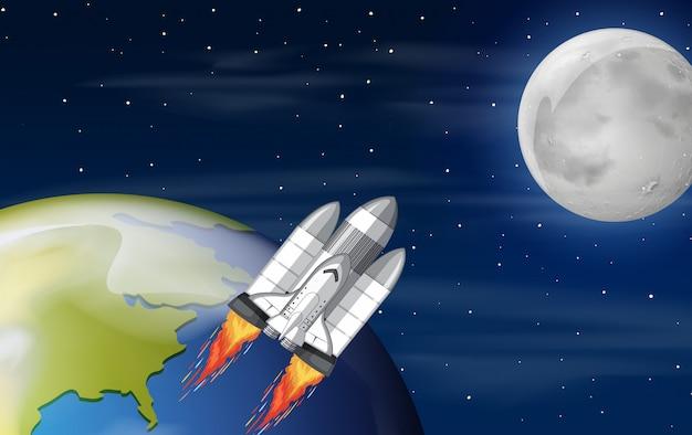 Una nave espacial en el espacio.