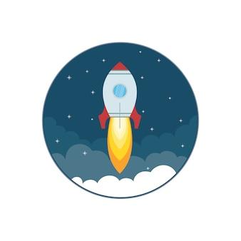 Nave espacial en un estilo plano. negocio puesta en marcha cohete
