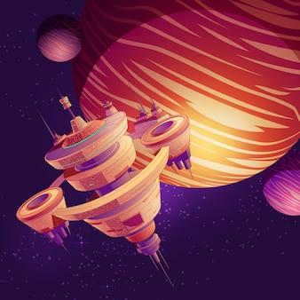Nave espacial futurista, estación espacial intergaláctica o futura metrópolis orbital