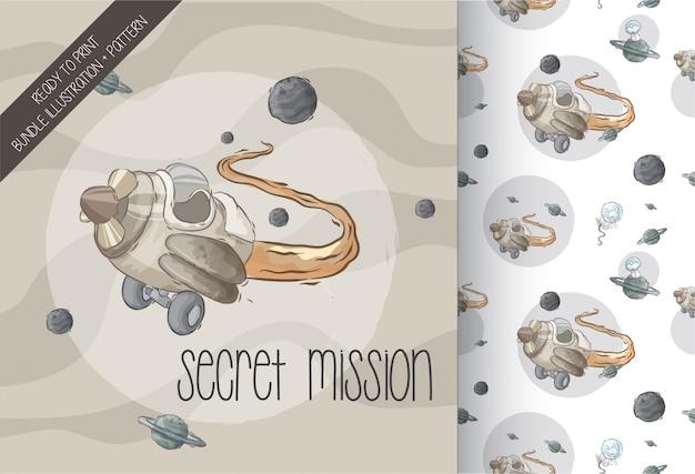 Nave espacial de ilustración en patrones sin fisuras galaxia