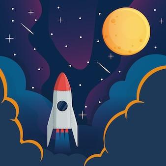 Nave espacial y luna en la galaxia espacial.