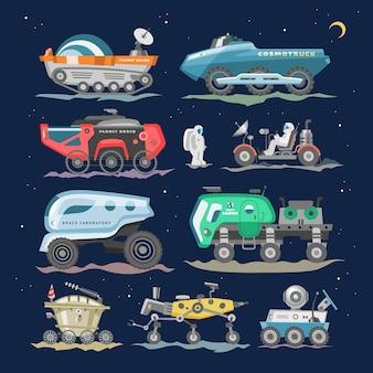 Nave espacial lunar-rover o moon-rover y nave espacial con astronauta explorando la ilustración de la luna