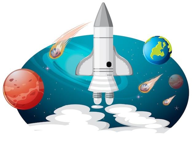 Nave espacial con muchos planetas y asteroides.