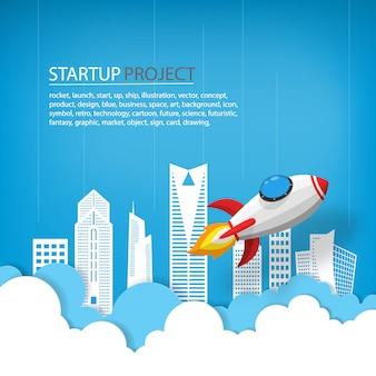 La nave espacial o el cohete se lanzan al cielo sobre edificios y nubes en vista de la ciudad.
