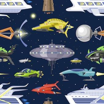 Nave espacial o cohete y ovni espacioso, ilustración de nave espaciada