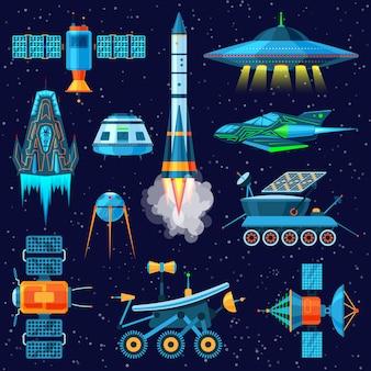 Nave espacial o nave espacial y conjunto de ilustración de satélite o rover lunar de nave espaciada en el espacio del universo en el fondo