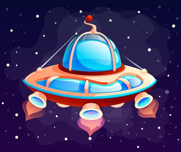 Nave espacial de objeto espacial de dibujos animados
