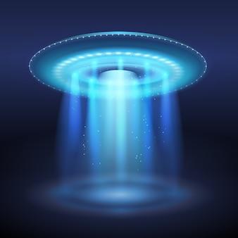 Nave espacial ovni iluminada con ilustración de portal de luz azul