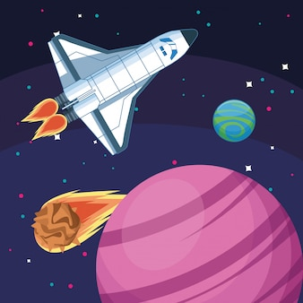 Nave espacial planetas asteroide galaxia exploración espacial