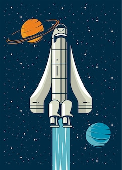 Nave espacial y planetas en cartel ilustración de estilo vintage