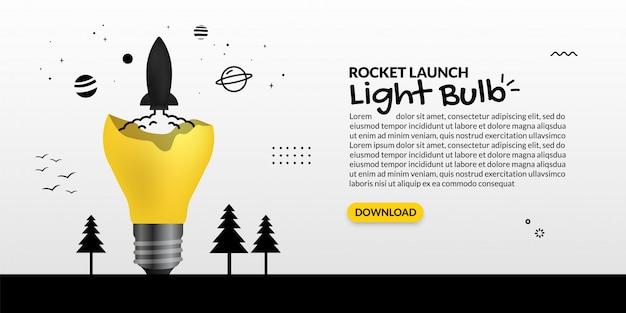 Nave espacial que se lanza desde la bombilla sobre fondo blanco, concepto de inicio de negocio