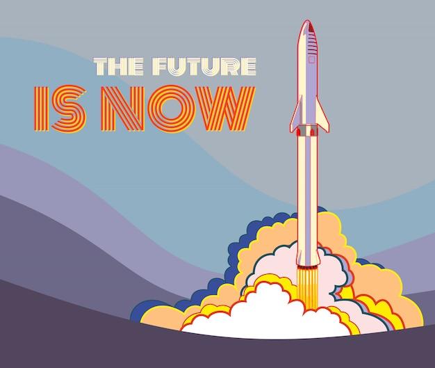 Nave espacial rocket lanzando vector estilo retro