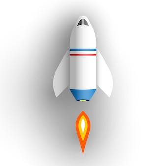 Nave espacial sobre fondo blanco. ilustración.