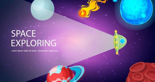 Nave espacial voladora en el universo cosmos con planetas, asteroides ilustración vectorial. nave espacial en el sistema solar con exploración de la tierra, saturno, la luna y plutón